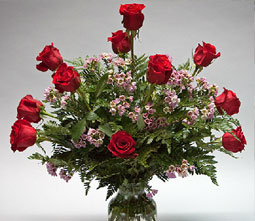 Roses in a floral arrangement made by taking Flower Design Classes